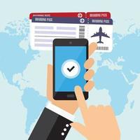 reserva de bilhetes de avião no telefone vetor