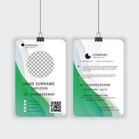 modelo de cartão de identificação oficial em verde e branco vetor