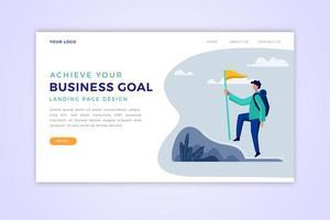 página de destino da meta de negócios vetor