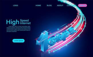conceito de internet de alta velocidade 1gbps vetor