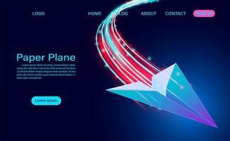 avião de papel em fundo azul vetor