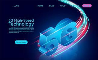 Conceito de tecnologia de alta velocidade com zoom de 5g vetor