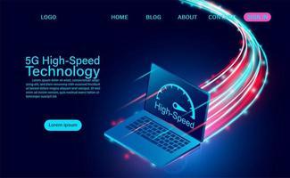 Tecnologia de alta velocidade para laptops 5g vetor