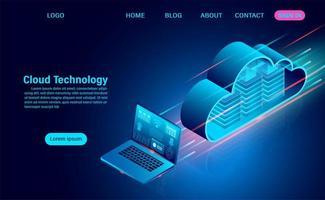 conceito de tecnologia de nuvem e laptop vetor
