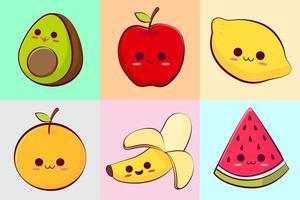 coleção de frutas tropicais kawaii vetor