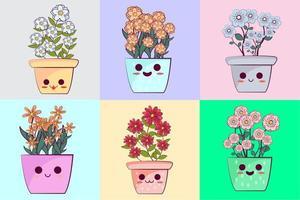 conjunto de vasos de flores kawaii