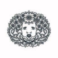projeto floral decorativo da cabeça da mulher