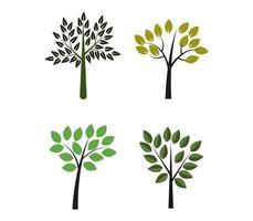 conjunto de árvores em branco vetor