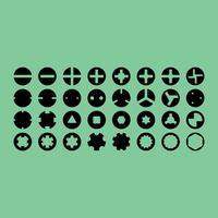 Ícones de vetor de cabeças de parafuso