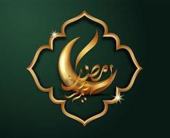 verde escuro e ouro ramadan kareem saudação vetor