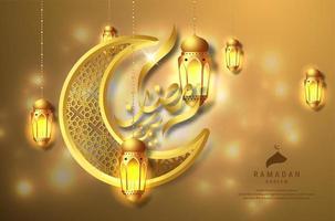 ramadan kareem design wirh lanternas de suspensão douradas vetor