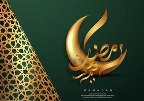 cartão de ouro e verde ramadan kareem vetor