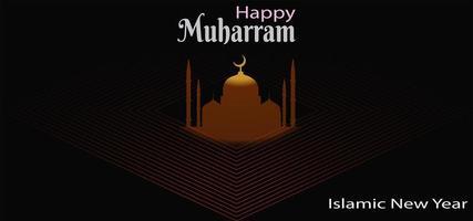 banner de ano novo islâmico com mesquita em diamante vetor