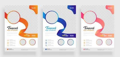 modelo de panfleto de viagem de fita colorida vetor