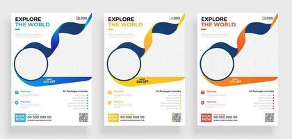 conjunto de modelos de panfleto de viagens com molduras redondas vetor