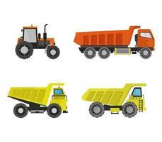 conjunto de caminhões e trator em um fundo branco vetor