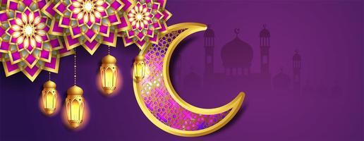 banner de ramadan kareem de lua roxa e dourada ornamentado vetor