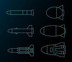 conjunto de desenho de linha de míssil futurista vetor
