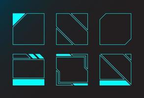 janelas de interface de design de ângulo de moldura quadrada