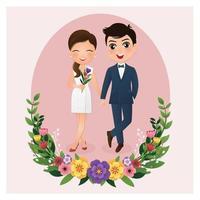 noiva e noivo em quadro de círculo com flores