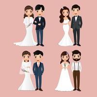 conjunto de caracteres de noiva e noivo