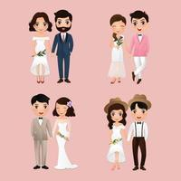 personagens fofinhos de noiva e noivo vetor
