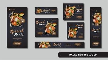 conjunto de banner web de mídia social de alimentos vetor