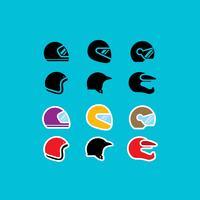 Ícones de vetor de capacete de motocicleta