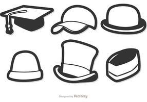 Preto e branco Chapéus Vector Pack 1