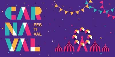 banner de tipografia de carnaval colorido vetor