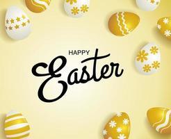 cartão de Páscoa quadrado com ovos nas cores douradas vetor