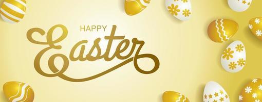 banner horizontal de páscoa com ovos e tema de ouro vetor