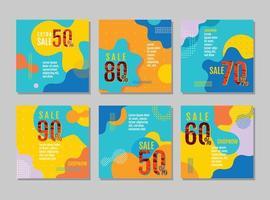 conjunto de cartão de venda de design ondulado brilhante