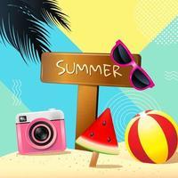 cartão quadrado com sinal de verão e itens