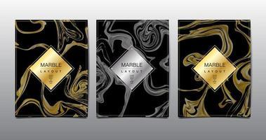 conjunto de capa de modelo de mármore ouro e cinza