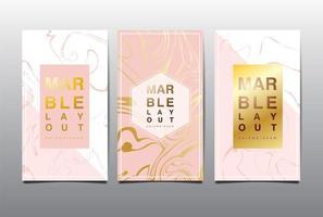 rosa e branco cartão vertical definido com marmoreio de ouro