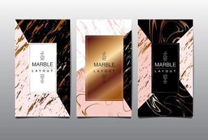 cartão vertical rosa e preto com ouro marmoreio