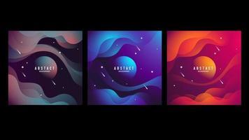 conjunto de cartão de espaço abstrato ondulado vetor