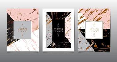 cartão multicolorido de design de ângulo definido com padrão de mármore