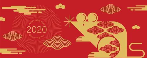 banner para o ano novo chinês com rato e nuvens vetor