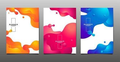 conjunto de banners de design líquido abstrato