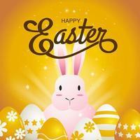 cartão quadrado dourado com coelho rosa e ovos vetor