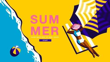 cartaz de verão com mulher descansando na praia