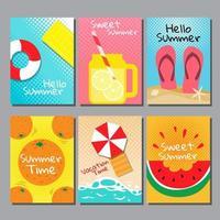 conjunto de cartões de tema de verão brilhante vetor