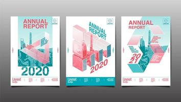 conjunto de capa de relatório anual geométrico vetor
