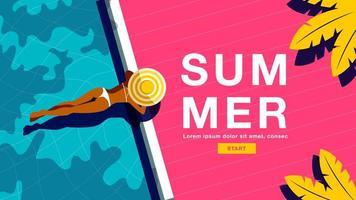 cartaz de verão com mulher deitada de barriga na piscina