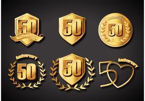 Emblemas do aniversário de 50 anos vetor