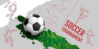 cartaz de esporte com figuras e bola na grama