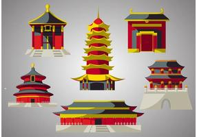 Pacote de vetores do templo chinês