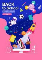 cartaz temático de volta à escola espaço vertical
